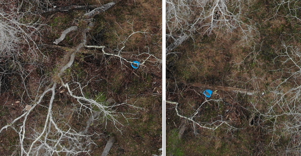 Two pictures side by side of a river bank both with a small blue bucket on its side in the image